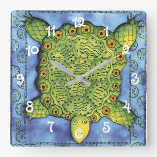 Horloge Carrée Tortue modelée