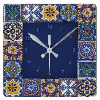 Horloge Carrée Tuiles de Talavera de Mexicain