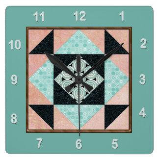 Horloge Carrée Turquoise et pêche de bloc d'édredon de correction