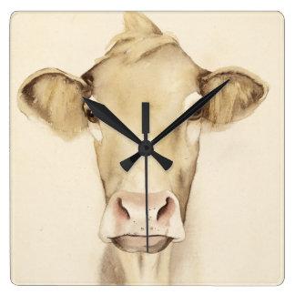 Horloge Carrée Vache aux animaux | de grange d'aquarelle
