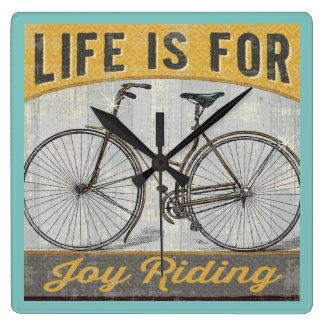 Horloge Carrée Vélo vintage avec la citation