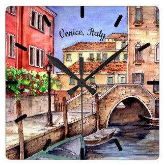 Horloge Carrée Venise - peinture d'aquarelle de stylo et de