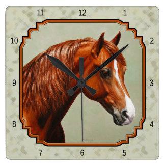 Horloge Carrée Vert sauge de cheval de Morgan de châtaigne