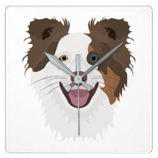 Horloge Carrée Visage heureux border collie de chiens