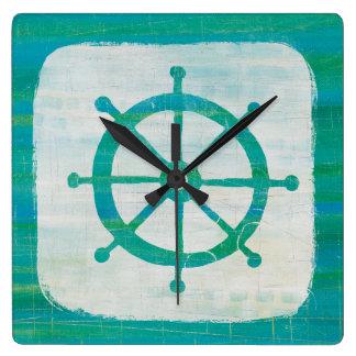 Horloge Carrée Volant côtier d'Aqua de l'art |