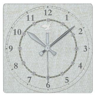 Horloge Carrée Vraie vente décorée moderne argentée de l'horloge