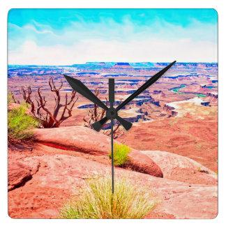 Horloge Carrée Vue de désert