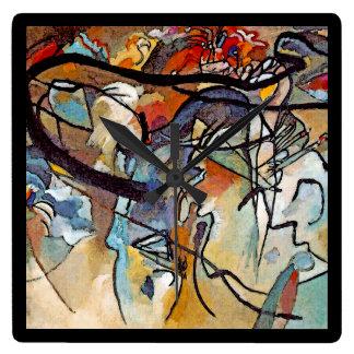 Horloge Carrée Wassily Kandinsky - art abstrait de la composition