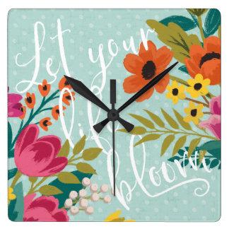 Horloge Carrée X Luxe romantique   a laissé votre fleur de la vie