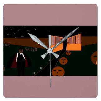 horloge de carré de fantôme de Halloween