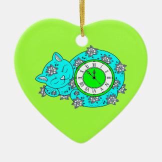 Horloge de chat ornement cœur en céramique