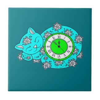 Horloge de chat petit carreau carré