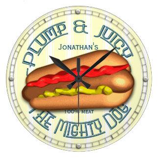 Horloge de cuisine personnalisée par hot dog drôle