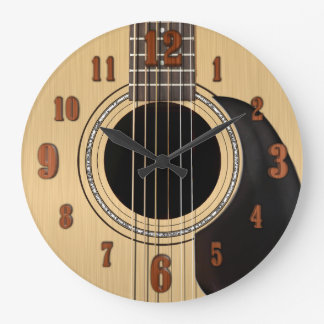 Horloge de guitare acoustique avec des nombres