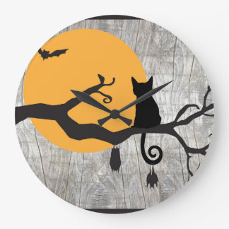 Horloge de Halloween d'arbre de batte de chat de
