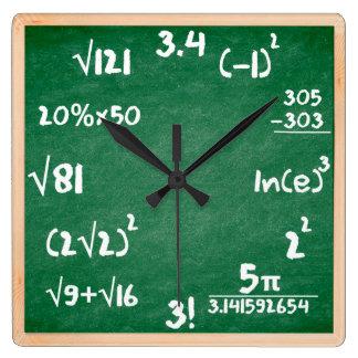 Horloge de maths avec la frontière en bois