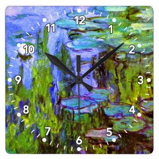 Horloge de nénuphars de Monet en bleu, vert et