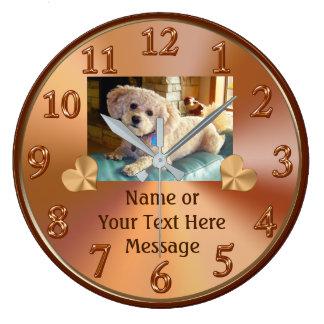 Horloge de photo avec votre IMAGE d'animal
