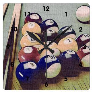 Horloge de pièce de jeux de billards de piscine