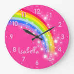 Horloge de rose de nom d'arc-en-ciel d'enfants de