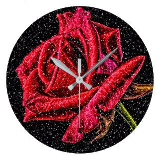 horloge de rose rouge