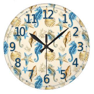 Horloge de vie marine, jolie horloge en verre