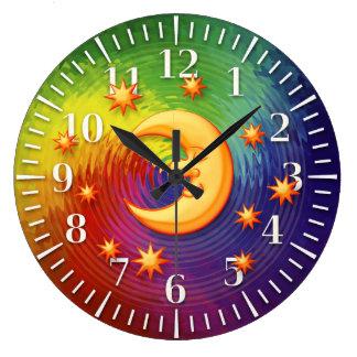 Horloge décorative rêvante heureuse de lune
