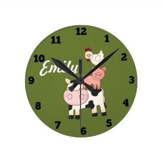 Horloge d'enfants d'animaux de ferme
