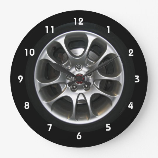 horloge d 39 enjoliveur de roue de voiture avec des. Black Bedroom Furniture Sets. Home Design Ideas