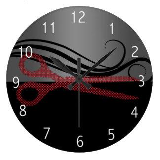 Horloge élégante rouge de salon de coiffure
