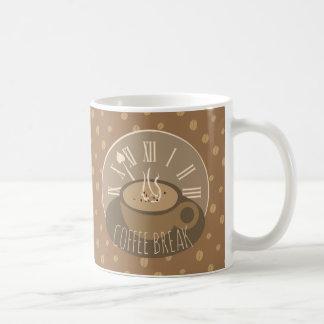 Horloge et haricots de pause-café mug