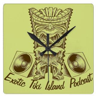 Horloge exotique de Podcast d'île de Tiki