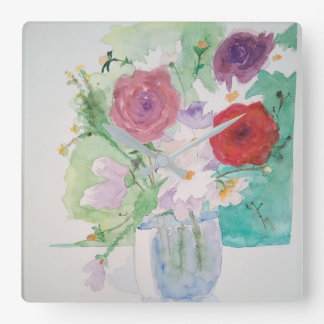 Horloge fleur romantique aquarelle