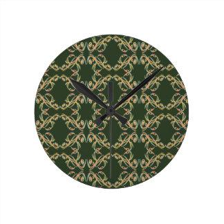 Horloge fleurie verte de griffonnage
