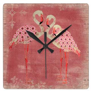 Horloge florale rose vintage de flamants