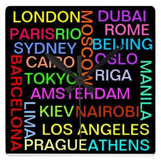 Horloge globale du monde de villes