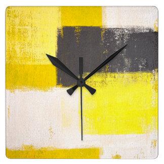 """Horloge grise et jaune """"simplement moderne"""" d'art"""