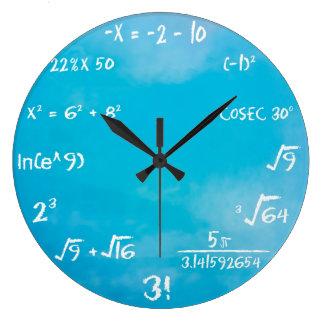 Horloge - horloge murale bleue de maths