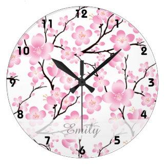 horloge japonaise 2 de ressort d'arbre de fleurs