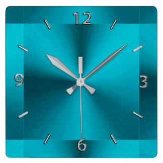 Horloge métallique de vert bleu de turquoise