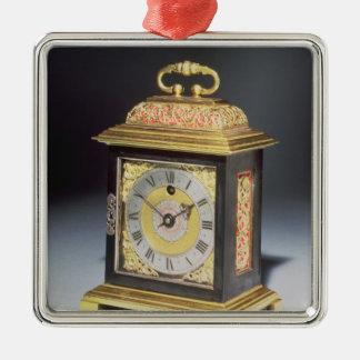 Horloge miniature de parenthèse ornement carré argenté