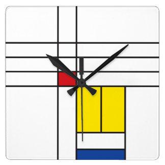 Horloge minimaliste d'art moderne de Mondrian de