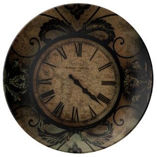 Horloge murale antique gothique vintage Steampunk Assiette En Porcelaine