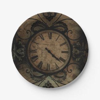 Horloge murale antique gothique vintage Steampunk Assiettes En Papier