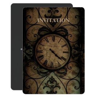 Horloge murale antique gothique vintage Steampunk Carton D'invitation 12,7 Cm X 17,78 Cm