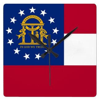 Horloge murale avec le drapeau de la Géorgie,