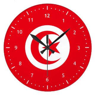 Horloge murale avec le drapeau de la Tunisie