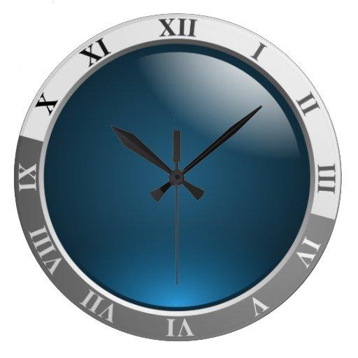 horloge murale avec le visage bleu cadran cadeau zazzle. Black Bedroom Furniture Sets. Home Design Ideas