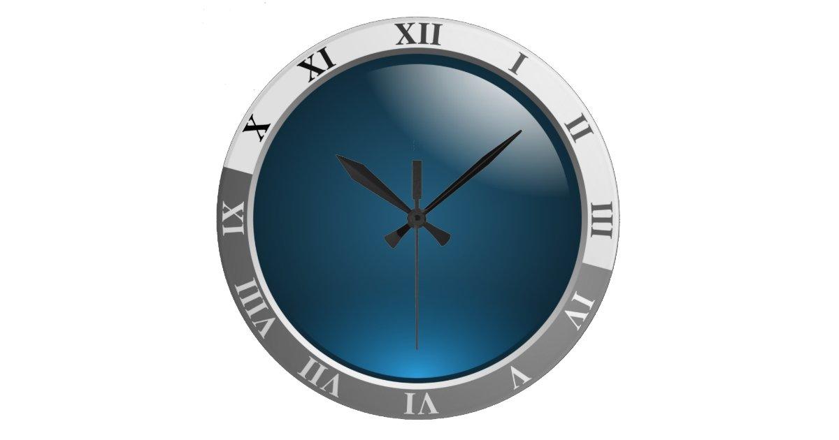 horloge murale avec le visage bleu cadran cadeau. Black Bedroom Furniture Sets. Home Design Ideas