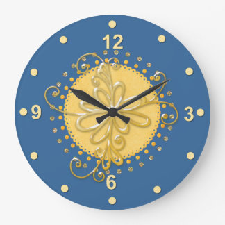 Horloge murale bleue et jaune élégante